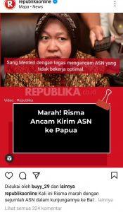 Viral Risma Ancam Pindahin ASN-nya ke PAPUA, Netizen Protes : Emang Papua Kenapa?